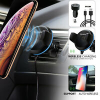 360° Qi Wireless Charger Car Mount Holder Stand 3 in 1 Set For Uber Lyft Driver