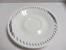 VINTAGE CORELLE CORNING LINEAGE WHITE W/ BLACK STRIPES SAUCER REPLACEMENT PIECE