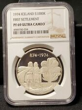 1974 ICELAND SILVER 1000 KRONUR FIRST SETTLEMENT NGC PF 69 ULTRA CAMEO