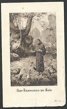estampa antigua de San Francisco de Asis santino holy card image pieuse