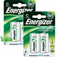 4 x Energizer C tamaño 2500 mAh Pilas Recargables NiMH LR14 HR14 DC1400 ACCU