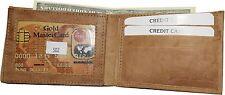 Men's Bi-fold Leather Wallet, Center piece 9 credit card ID, Tan Billfold wallet