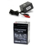 NEW UB645 6V 4.5AH BP4-6 6 Volt 4.5 Amp Hour SLA Replacement Battery & Charger