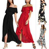 New Women Off Shoulder Floral Summer Printed Boho Long Maxi Beach Dress