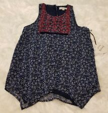Knox Rose Women's Embroidered Blue Floral Sleeveless Tunic ▪ Size XS
