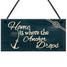 Home Is Where The Anchor Drops Nautcal Shabby Chic Hanging Plaque Bathroom Decor
