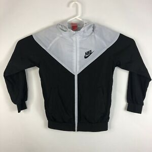 Womens M Nike Full Zip Hooded Windbreaker Athletic Track Jacket Black & White