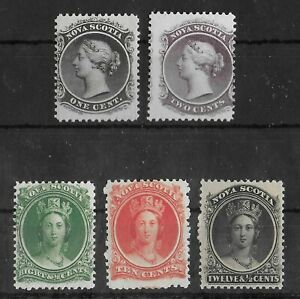 NOVA SCOTIA 1860-1863 Mint NH Set of 5 Stamps Unchecked VF