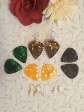 PLECTRUM EARRINGS - GUITAR PLEC JEWELLERY - MARBLE PATTERN - NECKLACE SET