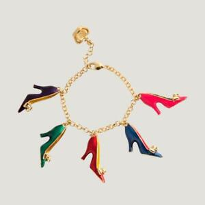 Butler and Wilson Enamel Stiletto Shoe High Heel Charm Bracelet NEW