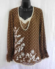 Kaelyn Max  Blouse & Tank Size M NWT Brown Floral  Polyester Crochet &  Beads