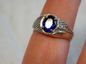 MENS BLUE SAPPHIRE RING SIZE 8 925 STERLING SILVER 1.50CT USA MADE