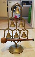 "11"" Vintage Ornate Free Standing Brass DINNER Chime 7 Bell GONG Wood Striker"