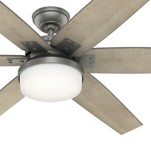 Hunter Fan 64 in Contemporary Matte Silver Indoor Ceiling Fan w Light and Remote
