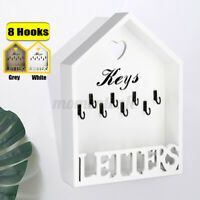 4/8 Hooks Wooden Key Storage Box Hanging Cabinet Holder Rack Wall Mounted Home