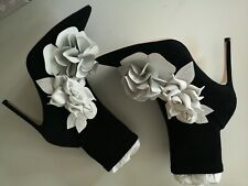 Sophia webster Ankle Boots jumbo lilico Black White suede Flowers EUR38.5 BNWB