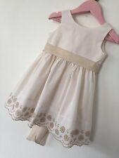 VERTBAUDET MILA BLUE Baby Girl's Cream Summer Dress 12 months wedding flowergirl