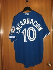 3d5c39931 EDWIN ENCARNACION SIGNED TORONTO BLUE JAYS BLUE JERSEY 40th Anniversary  Indians