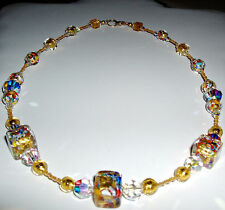 24K Gold Murano Glass Klimt Cube and Crystal Necklace