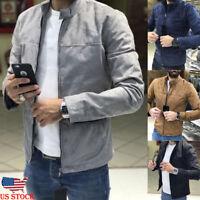 US Men's Winter Zip up Slim Collar Jacket Tops Long Sleeve Casual Coat Outerwear