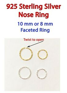 NOSE RING * 925 Sterling Silver* 10MM 8MM FACETED   * QUICK DISPATCH