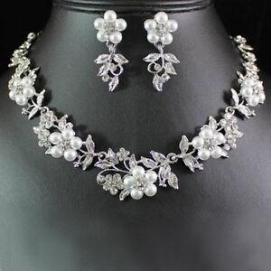 charmant Blumenperlen Strass Halskette Ohrringe Set Braut Hochzeit Schmuck