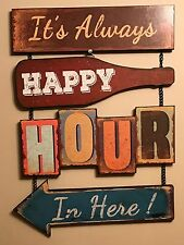 Happy Hour Retro Americana Wall Hanging Sign , Beautiful Item