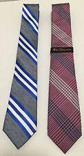 Ben Sherman Two (2) Skinny Silk Mens Neck Ties Striped Checkered Silk Linen New
