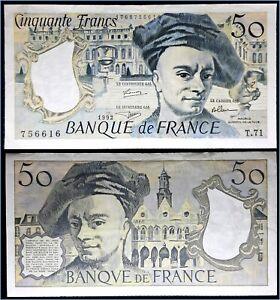 BILLET 50 FRANCS QUENTIN DE LA TOUR BANQUE DE FRANCE - SERIE T71 - 1992 TBE