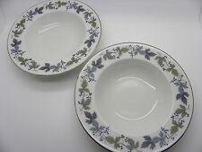 "Royal Doulton Burgundy Translucent China Porcelain TC1001 Soup Bowls 8"" Rim x 2"