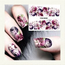 2 Sheet Nail Art Water Transfer Sticker Flower Wrap Foil Decal Tips DIY Manicure