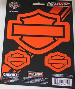 Harley Davidson motorcycle bike sticker decal shield bar reflective orange 3