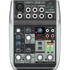 Behringer Xenyx Q502USB 5-Input 2-Bus Mixer 3 Band EQ USB Audio Interface +Picks