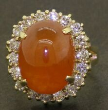 Heavy 14K gold 16.66CTW diamond/15 X 12mm cabochon Mandarin garnet cocktail ring