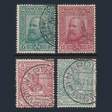 Regno d'Italia 1910 Francobolli Garibaldi Serie completa Sassone n. 87/90 Usati