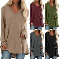 Womens Long Sleeve Loose V-Neck T-Shirt Blouse Ladies Casual Oversized Tunic Top