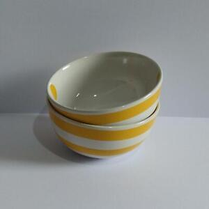 Ikea Tikar Yellow Small Bowls x 2 - White with Yellow Stripes & Spots - Plse Rd