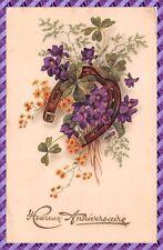 Carte Postale Fantaisie - Trèfle, fleur et fer a cheval