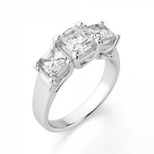 2.40 Ct Asscher Cut 3 Stone Diamond Engagement Ring 14K White Gold Size L M N O