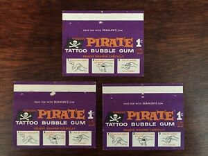 Scanlens 1968 Pirate tattoo bubble gum wrappers