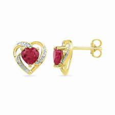 10k Yellow Gold Round Lab-created Ruby Heart Love Fashion Earrings 3/8 Ctw