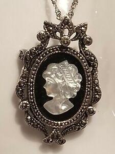 Ballerina Shell Italian Sterling Silver Master Carved Cameo Brooch Pendant Enhancer