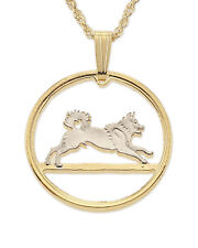 """Norwegian Elkhound Pendant & Necklace Norway Cut Coin 3/4""""Diameter ( # 578 ) )"""