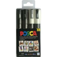 Uni POSCA PC-5M Acrylic Paint Markers Set of 4 (Black & White)