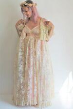 Bill Gibb 70's Vogue Feature Twiggy Dress Cream Lace Romantic Maxi Gown Uk 6/8