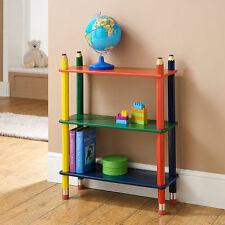 Solid Wood Coloured Pencil Theme 3 Tier Shelves Unit - Bookcase