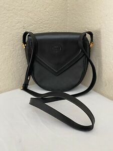 Vintage Gucci Micro Small GG Black PVC Leather Trim Shoulder Crossbody Handbag