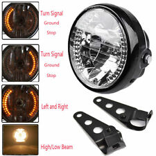 "Black Bracket Mount Universal 6.5"" Motorcycle Headlight LED Turn Signal Light"