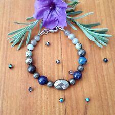 ☆★Magnifique bracelet en pierres Pyrite-Lapis Lazuli-Turquoise-Labradorite★☆
