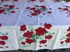 """Vintage Rose Tablecloth Bright Colors Red Green Gray Crisp Rectangular 54 x 52 """""""